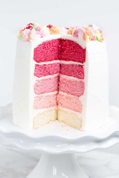 If you're looking for a stunning cake, this pink ombre cake is it! It's easy to make and ridiculously impressive looking. Vegan Wedding Cake, Wedding Cakes, Pink Ombre Cake, Spiderman, Cold Brew Coffee Maker, How To Make Tea, Sweet Cakes, Baby Shower Cakes, Let Them Eat Cake