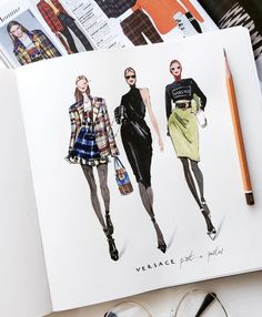 Fashion Drawing – 75 Picture Ideas – Drawing Ideas and Tutorials Fashion Design Sketchbook, Fashion Design Portfolio, Fashion Design Drawings, Fashion Sketches, Dress Sketches, Drawing Fashion, Art Sketchbook, Portfolio Design, Fashion Illustration Dresses