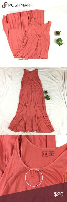 GAP Sunkissed Maxi Dress This dress from GAP is 100% Pima cotton and is gorgeous in a sunkissed wash! It features cascading ruffles down the front and a lightweight feel perfect for winter getaways in the tropics!  Excellent condition with only one flaw noted; a couple tiny holes on the front near the top (photographed).  As always, a smoke free home! Bundle this with another item and receive a discount! ❤️ GAP Skirts Maxi