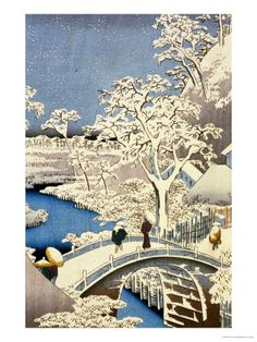 Drum Bridge and Setting Sun Hill at Meguro, from the Series 100 Views of Edo Gicléedruk van Ando Hiroshige bij AllPosters.nl