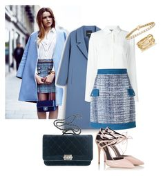 """""""Shades of blue"""" by basicandbougie ❤ liked on Polyvore featuring Monki, Moschino, Pierre Balmain, Chanel, Fratelli Karida and SPINELLI KILCOLLIN"""