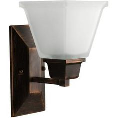 Powder Room over sink and mirror light - Progress Lighting North Park Collection Venetian Bronze 1-light Wall Bracket - Model # P2733-74 at The Home Depot