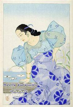 Portrait Of A Chamorro Woman - Blue Paul Jacoulet Illustrations, Graphic Illustration, Art Japonais, Post Impressionism, Art Database, China, Woodblock Print, Print Artist, Japanese Art