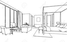 Skizze, Zeichnung Perspektive Eines Inter Raum Umreißen Lizenzfreie Fotos, Bilder Und Stock Fotografie. Image 44774167.