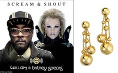 Brtiney Spears wearing de GRISOGONO boule earrings to perform in her single Scream and Shout