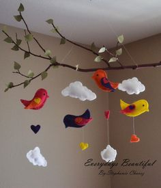 Love Birds Tree Mobile /kids  Room Decor by EverydaysBeautiful, $27.00