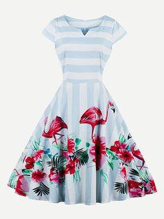 544443c6aa9 Blue Capped Sleeve Striped Flamingo Print Zip Back Swing Dress Lala