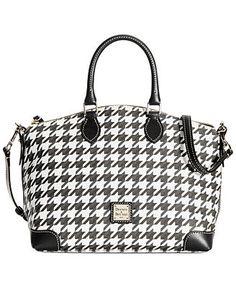 Dooney & Bourke Houndstooth Satchel from Macy's on Catalog Spree Satchel Handbags, Purses And Handbags, Coin Purses, Handbag Accessories, Fashion Accessories, Accessories Online, Mk Bags, Beautiful Bags, Houndstooth