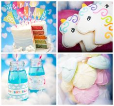 Rainbow Unicorn themed birthday party via Kara's Party Ideas KarasPartyIdeas.com Cake, favors, decor, supplies, food, and more! #rainbowparty #unicornparty #rainbowunicornparty #unicornpartyideas