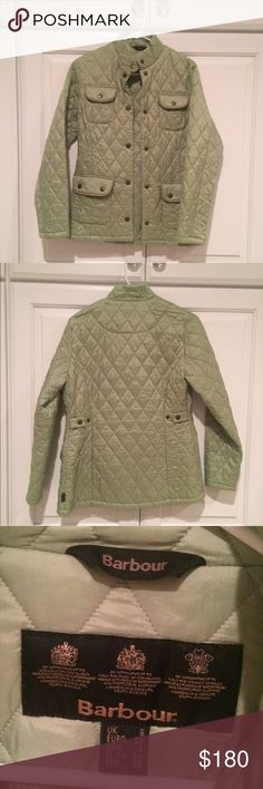 Light green Barbour quilted jacket Light green Barbour quilted jacket with buttons. Coat is in great condition with very little signs of wear. Perfect for the spring, warm winters & falls as well as cool summer days. Would fit a small, X-small and maybe a smaller medium. Barbour Jackets & Coats Puffers