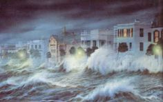 Hurricane Hugo making landfall on the Battery.  LOVE this print done by Jim Booth. It's in my living room.