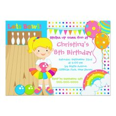 Cute Blond Girl Bowling Birthday Party Invitations