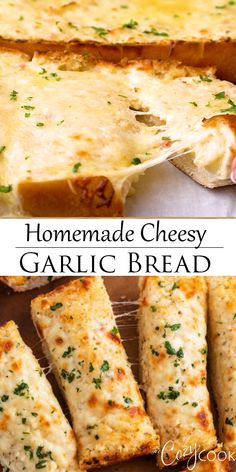 This homemade cheesy garlic bread has an easy buttery garlic spread, lots of hot. - This homemade cheesy garlic bread has an easy buttery garlic spread, lots of hot, melted cheese, an - recipes easy Pizza Recipes, Appetizer Recipes, Cooking Recipes, Healthy Recipes, Easy Recipes, Seafood Appetizers, Simple Food Recipes, Bread Appetizers, Supper Recipes