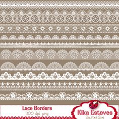 "20 lace borders High Resolution 300dpi PNGs (transparent background):  (10 black + 10 white)  Each digital clipart image size is 12"" wide    YOU CAN ADD YOUR OWN COLOR WITH PHOTOSHOP:  - Open your white border  - Click Layer > Layer Style > Color Overlay  - Double click the rectangle color box  - Choose your color"
