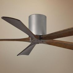 "52"" Matthews Irene 5-Blade Walnut-Nickel Hugger Ceiling Fan"