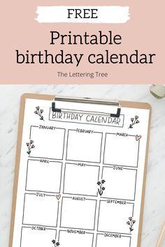 Belated Birthday Card, Free Birthday, Birthday Cards, Birthday Calender, Monthly Planner Printable, Diy Calendar, Family Birthdays, Free Printables, Free Printable Calendar Templates
