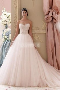 Pinkish Princess Sweetheart Tulle Beading Wedding Gown