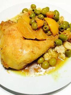 citron confit, poivre, gingembre, citron, huile d'argan, curcuma, olive verte, oignon, cumin en poudre, eau, ail, poulet, coriandre, sel