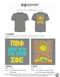 JCG Apparel : Custom Printed Apparel : Pi Beta Phi Glow Swap T-Shirt #pibetaphi #piphi #pbp #glowswap #glowwiththeflow #handdrawn #psychedelic