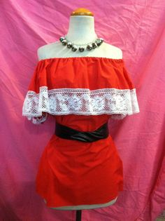 Cherry Red Vintage Peasant Top Size XLarge by Flipsville on Etsy