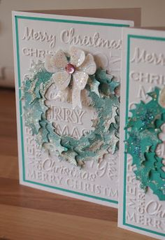 The Dining Room Drawers: Christmas wreath card in silver, white and turqoise