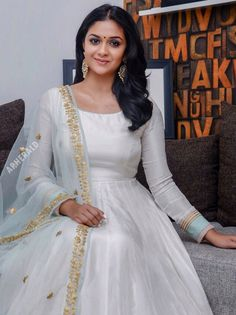 Keerthi Suresh very pretty love it Party Wear Indian Dresses, Indian Gowns Dresses, Indian Fashion Dresses, Dress Indian Style, Indian Designer Outfits, Indian Outfits, Designer Anarkali Dresses, Designer Party Wear Dresses, Kurti Designs Party Wear
