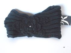 Rampage women black knit head wrap with crocheted flower/pearl  $18.00 value #rampage #headwrap