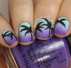 Inspired Sunset Gradient Palm Tree Nail Art