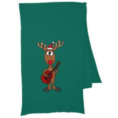 Funny Rudolph Red Nosed Reindeer Christmas Scarf #reindeer #Christmas #scarf #funny #music #guitar And www.zazzle.com/tickleyourfunnybone*