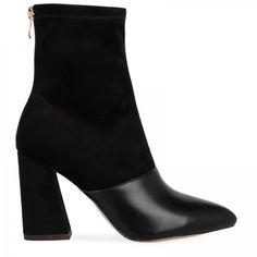 Ellarta Black Faux Suede Ankle Boot With faux leather tip (£35) ❤ liked on Polyvore featuring shoes, boots, ankle booties, ankle boots, vegan booties, vegan boots, faux leather booties and bootie boots