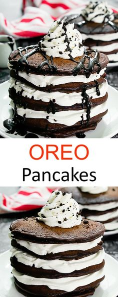 Chocolate cookies and cream flavored pancakes stacked together with layers of whipped cream. A fun breakfast or brunch! The post Oreo Pancakes. Chocolate cookies and cream flavored pancakes stacked together wi& appeared first on Trendy. Köstliche Desserts, Delicious Desserts, Yummy Food, Food Deserts, Tasty, Oreo Pancakes, Pancake Stack, Pancake Cake, Best Breakfast