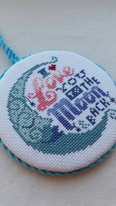 Completed finished cross stitch ornament, Valentine's Day ornament or gift, wall or door hanger, Love you to the moon and back, love gift.