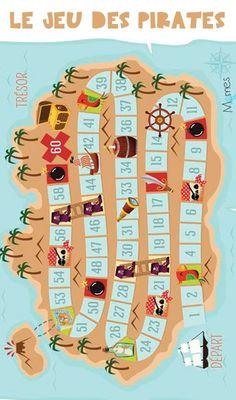 Un jeu de plateau sur le thème des pirates à imprimer gratuitement sur notre site, amusez vous bien !