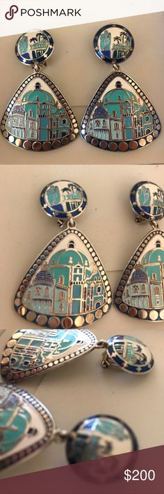 Hand painted 925 Silver earrings Hand painted 925 Silver Earrings! Exclusive one and only design with beautiful city images. Different blue shades. handmade earrings Jewelry Earrings