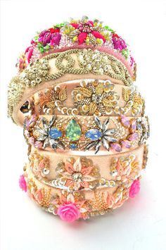 Indian wedding gifts - perfect studded bridal hairbands as favors for your friends and sisters Indian Wedding Gifts, Indian Bridal, Arabian Nights Costume, Silk Thread Bangles, Indian Jewelry, Indian Bangles, Bridal Hairbands, Bridal Accessories, Silver Bracelets