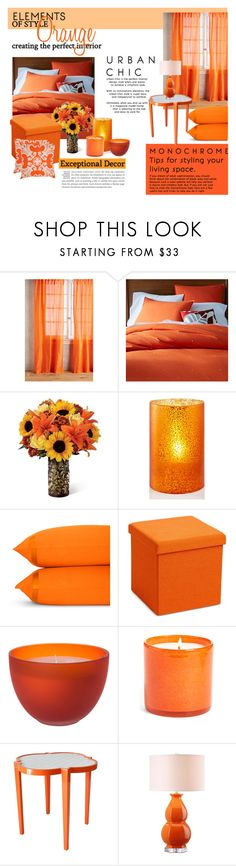 """""""Orange Bedroom"""" by amelia-carnero ❤ liked on Polyvore featuring interior, interiors, interior design, home, home decor, interior decorating, Anthropologie, West Elm, Holiday Lane and Matouk"""