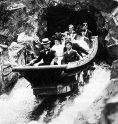 "New York, Luna Park: Circa 1908 - ""The Mountain Torrent"" The cars rode on tracks like a roller coaster, surrounded by water. Antique Photos, Vintage Pictures, Vintage Photographs, Old Pictures, Old Photos, Coney Island Amusement Park, Amusement Park Rides, Eaton School, Sydney Area"