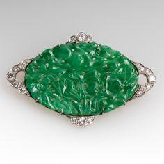 Vintage Carved Jadeite Jade Platinum Gold and Diamond Brooch Pin