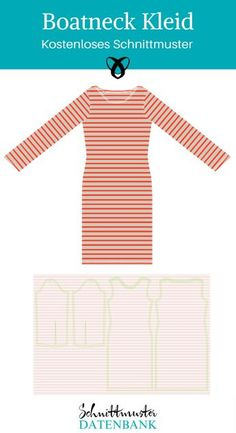 At Factory of Dreams, you'll find a free sewing pattern for a simple jersey dre Diy Dress, Dress Skirt, Sew Over It, Diy Mode, Boat Neck Dress, Sewing Patterns Free, Sewing Clothes, Cool Outfits, Cold Shoulder Dress