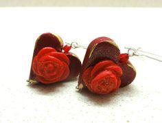 Jewelry Dangle Earrings handmade of polymer clay red by artefyk, $19.00