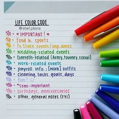 Life Color Code for Planner | Stef Plans (Diy Crafts For College)
