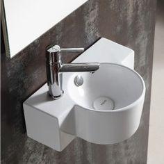 Lave main asymétrique 40x28cm Céramique, Pool