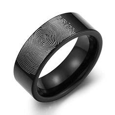 Caperci-Black Fingerprint Tungsten Wedding Band