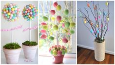 DIY Target Dollar Easter Tree ~ plus Spring & Easter Decor & Fun Crafts for the Kids. (NOTE TO AJ: love the eggs around top of clay pot) Hoppy Easter, Easter Eggs, Easter Bunny, Easter Food, Easter Table, Diy Osterschmuck, Egg Tree, Diy Easter Decorations, Easter Centerpiece