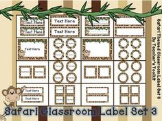 Safari Classroom Label Set (3) I just got this!  So cute and can have a million uses!