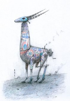 The Bird King: Wind-up ornamental antelope, colour pencil, A4