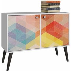 Mendocino Catalpa Funky Double Side Table, White Frame with a Colorful Stamp Door and Yellow Feet