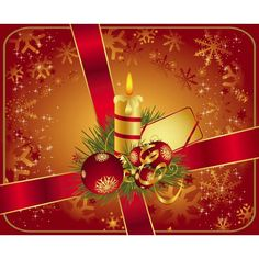 Vector abstract golden snowflake on red glossy card with candle glowing and Christmas ball and bow with tag greeting card illustration backg...