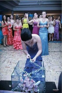 Instead of throwing the flower bouquet, the single ladies are each handed a key with only one that will unlock it.