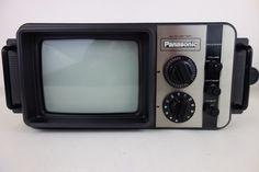 Vintage 1970s Panasonic Portable Black & White Analog TV AC DC or Battery Power | eBay